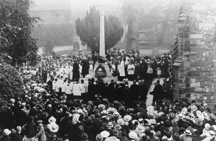 The unveiling of the war memorial at St Mary Magdalene Church