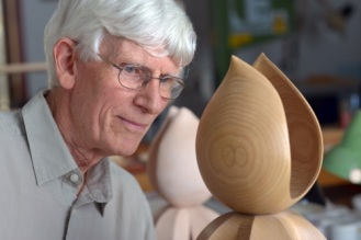 David with his sculpture 'Good Omens'