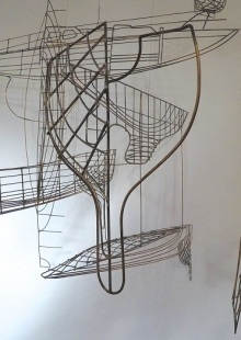 Jacky Oliver's 3D wire interpretations inspired by technical drawings from the Morgan-Giles boat yard